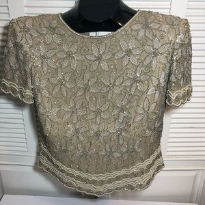 Adrianna Papell Boutique Champagne Beaded Blouse
